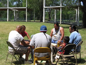 Isantee Sioux Tribal members celebrating the Bison Education project